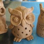 Tea Light Clay Owl